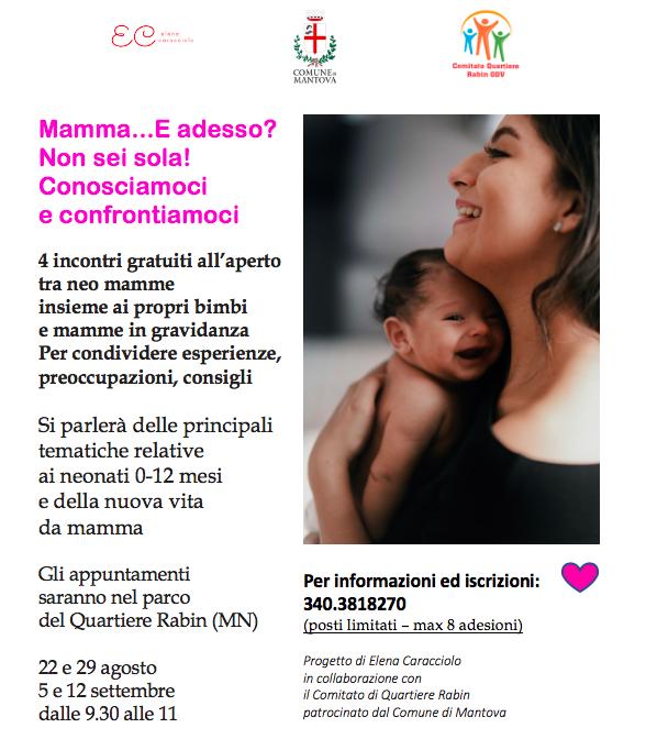 locandina incontri di supporto mamme Mantova